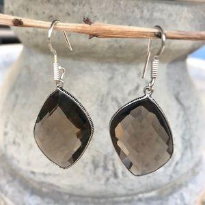 Jewelry - SMOKEY topaz GEMSTONE sterling silver EARRINGS